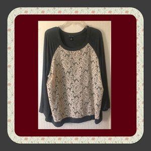 🧣Gray Lace Front Sweatshirt
